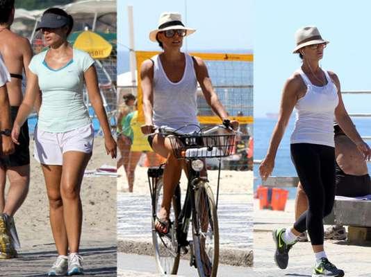Sucesso na telinha, estrelas como Patrícia Poeta, Carolina Ferraz e Luiza Brunet não perderam a oportunidade de curtir um passeio ou se exercitar à beira da praia