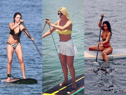 Ísis Valverde, Val Marchiori e Rihanna estão entre as celebridades que curtem se equilibrar sobre a prancha para praticar stand up paddle