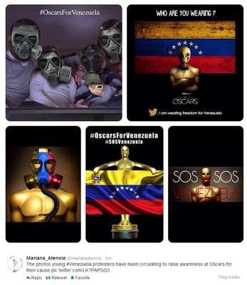 """Usuários do Twitter protestam na noite do Oscar chamando a atenção dos milhares de expectadores e artistas, compartilhando fotos e frases sobre situação no país. Venezuelanos pedem para artistas """"dizerem o que a mídia de seu país não pode"""""""