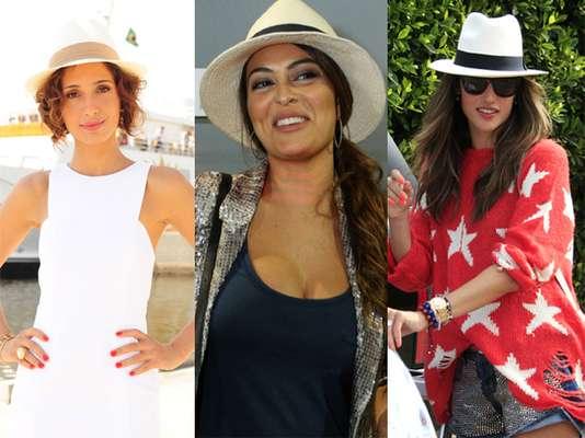 Camila Pitanga, Juliana Paes e Alessandra Ambrósio são exemplos de celebridades que adequam corretamente o penteado ao chapéu