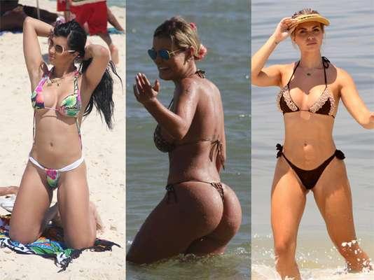 Camila Vernaglia, Andressa Urach e Veridiana de Freitas capricharam na escolha dos biquínis para curtir a praia nos meses de verão