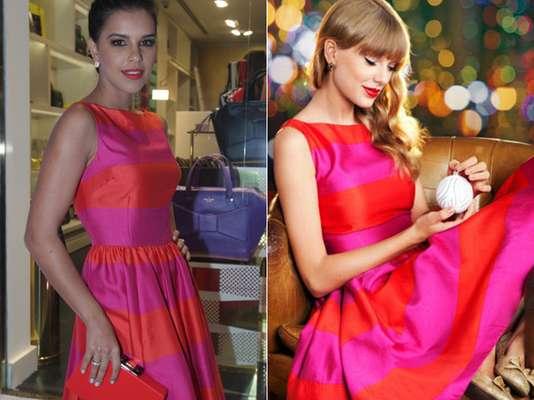 A atriz brasileira Mariana Rios optou pelo vestido chamado Carolyn, da grife de Nova York Kate Spade, para conferir o lançamento de uma nova bolsa da mesma grife, nesta quinta-feira (28), em São Paulo. O vestido-desejo é listrado nas cores pink e vermelho e foi usado em 2012 pela cantora americana Taylor Swift. A cantora apareceu com a peça nas mesmas cores em foto de divulgação da marca de 2012 e, no mesmo ano, voltou a usar o vestido em preto e branco