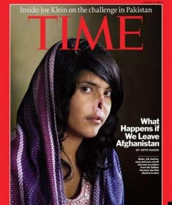 Bibi Aisha: a jovem afegã Bibi Aisha tornou-se mundialmente conhecida após seu rosto ter sido desfigurado aos 18 anos pelo marido, na província de Uruzgan, Afeganistão. O homem era simpatizante do Talibã e cortou a orelha e o nariz dela por ter reclamado aos seus pais sobre maus tratos dos sogros. Ela havia protestado contra o costume de seu país, adotado por sua família, que a deu como presente ao noivo quando tinha apenas 12 anos. Em agosto de 2010, Bibi Aisha foi capa da Time. Ela passou por uma cirurgia de reconstrução do nariz após o incidente