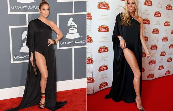 No Festival de Cinema de Cannes, Adriane Galisteu usou o mesmo vestido que Jennifer Lopez no Grammy de 2013. O longo preto com fenda é assinado por Anthony Vacarello