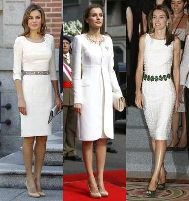 El color blanco ha acompañado a la Reina Letizia en algunos de los momentos más señalados de su vida. Así ocurrió en el día de su boda, con el elegantísimo vestido de Pertegaz, en los bautizos de Leonor y Sofía y numerosos actos oficiales.