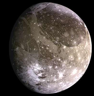 GANIMEDES - Maior satélite de Júpiter, possui 5,2 mil km de diâmetro. Essa lua foi descoberta em 1610, pelo astrônomo italiano Galileu Galilei