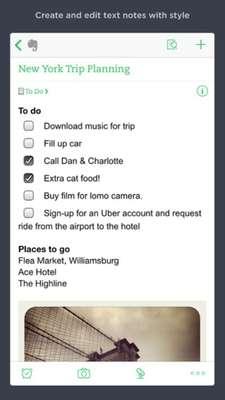 Evernote, disponible para iOS y Android, te permite recordar tus pendientes de manera sencilla y muy visual
