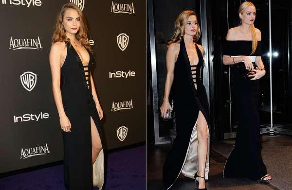 Cara Delevingne (à esquerda da foto) repetiu o pretinho nada básico que já havia sido usado pelo também modelo Goergia May Jagger no baile do MET, em Nova York, em maio de 2014