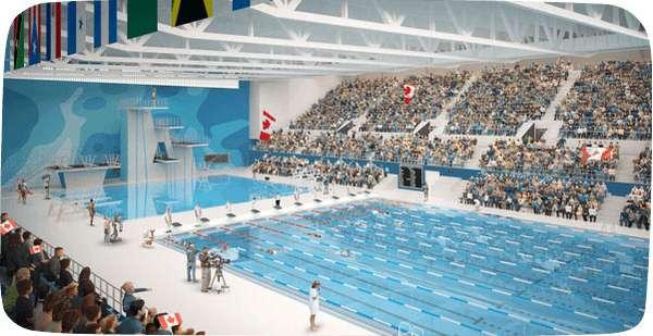 O complexo aquático e esportivo é a maior construção realizada para os Jogos e também é considerado o maior investimento na história dos esportes amadores do Canadá. O centro aquático possui duas piscinas, seguindo padrão internacional, cada uma com 50 m e 10 raias; uma piscina de cinco metros de profundidade para saltos ornamentais, com trampolins de 3 m, 5 m , 7,5 m e 10 m e instalações para treinamento de mergulho. Lá serão disputados os saltos ornamentais, natação, nado sincronizado e natação parapan-americano
