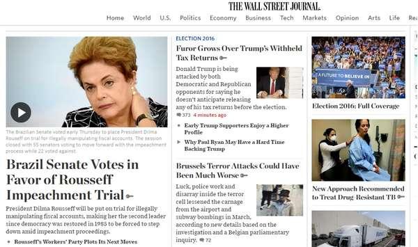 O jornal americano 'The Wall Street Journal' destaca que Dilma Rousseff é a segunda presidente a ser afastada do poder por processo de impeachment desde que a democracia foi restabelecida no Brasil em 1985