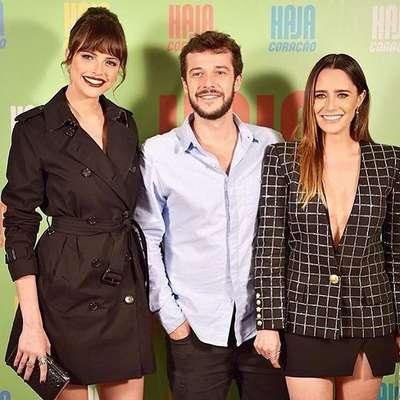 Aghata Moreira divou na festa de lançamento da novela Haja Coração ao lado de seus colegas, e parceiros de triangulo amoro, Jayme Matarazzo e Fernanda Vasconcelos