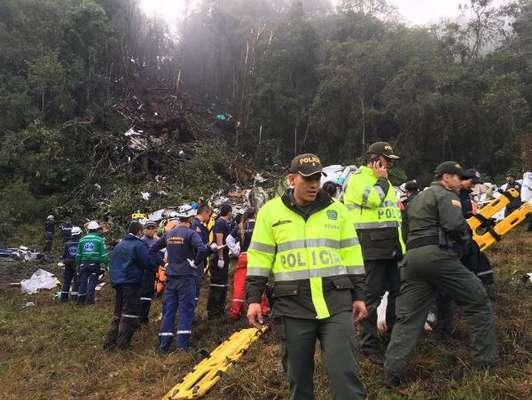 Local da queda do avião que levava a Chapecoense para a Colômbia