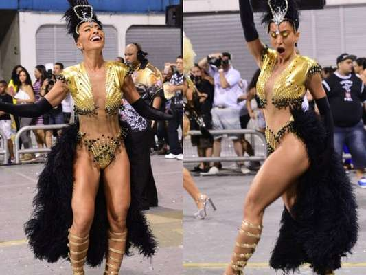 Carnaval 2017: Sabrina Sato usa body cavado e com transparência em ensaio da Gaviões na madrugada deste domingo, dia 12 de fevereiro de 2017
