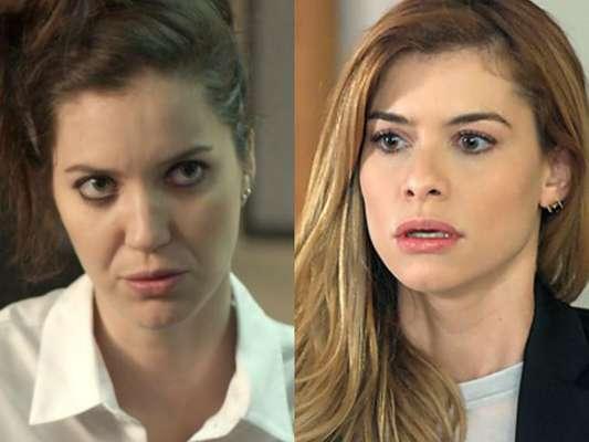 Lorena (Nathalia Dill) ameaça Diana (Alinne Moraes) na novela 'Rock Story', em 17 de março de 2017