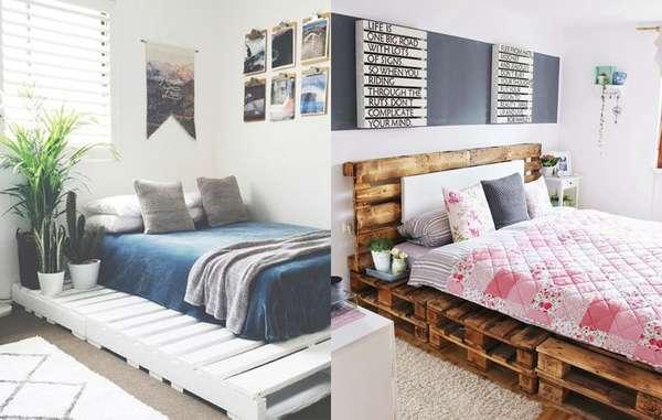 Os pallets são ótimas sustentações para a sua cama, seja ela de solteiro ou casal. E ainda dá pra pintar e deixar a madeira ainda mais personalizada.