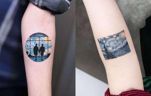 """Van GoghO expressionismo de Van Gogh virou tatuagem, a inspiração principal veio do quadro """"A Noite Estrelada""""."""