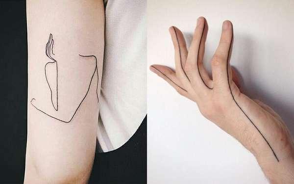 Single Line TattoosAs tatuagens de linha única podem parecer simples, mas esbanjam estilo!