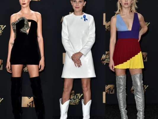 Cara Delevingne, Millie Bobby Brown e cantora Zara Larsson apostaram em botas para o MTV Movie and TV Awards 2017. Veja mais looks!