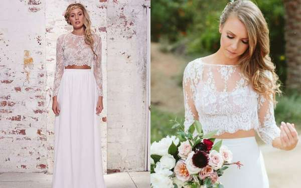 O modelo mais tradicional (e o mais usado pelas noivas) é o cropped de renda com uma saia lisa: além de dar leveza, traz um ar de romantismo, tendência essa que as noivas tanto procuram!