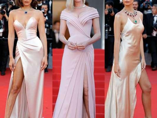 Bella Hadid, Uma Thurman e a modelo Emily Ratajkowski apostaram em vestidos claros com fenda para o Festival de Cannes 2017. Veja os looks das famosas no evento!