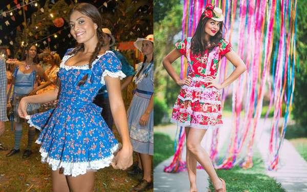Para quem ama festa junina e quer se vestir a caráter, os vestidos floridos são a melhor opção! Pode ser com babados, rendas e de diversos estilos: o importante é ter bastante cor e ser bem rodado.
