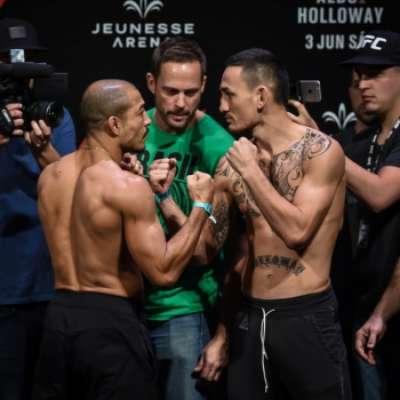 José Aldo encara Max Holloway em pesagem do UFC Rio