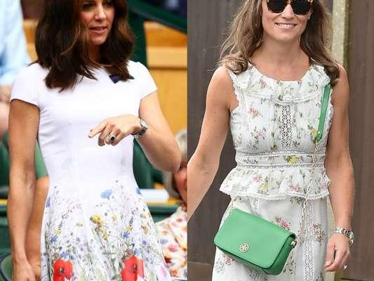 Kate Middleton e Pippa Middleton optaram por looks florais para prestigiarem o torneio de Wimbledon, em Londres, em 16 de julho de 2017