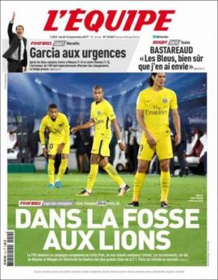 """O jornal francês """"L'Equipe"""" destaca a goleada do PSG por 5 a 0 sobre o Celtic. """"Na cova do Leão"""" é a manchete do jornal, que estampa o trio MCN (Mbappé, Cavani e Neymar) em sua capa."""