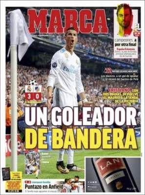 """O jornal espanhol """"Marca"""" destaca a vitória de 3 a 0 do Real Madrid sobre o Apoel. """"Goleador Nato"""" é a manchete do diário, que ainda fala sobre o empate entre Liverpool e Sevilla por 2 a 2."""