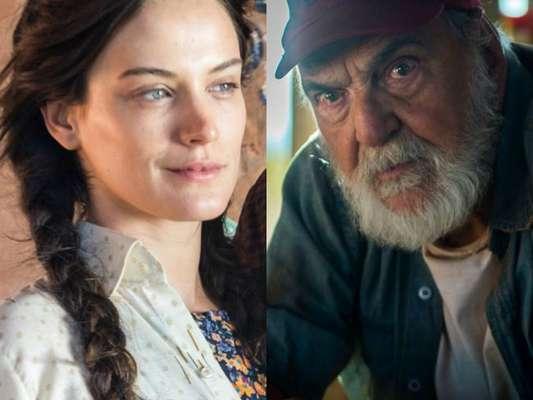 Clara (Bianca Bin) expulsa Gael (Sergio Guizé) e se abriga na casa de Josafá (Lima Duarte), na novela 'O Outro Lado do Paraíso'
