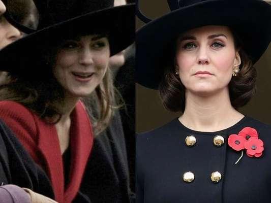 Grávida de 4 meses, Kate Middleton repetiu chapéu preto com alças da grife Philip Treacy em evento nacional neste domingo, dia 12 de novembro de 2017