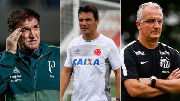 Cuca treinou apenas o Palmeiras no ano. Zé Ricardo trabalhou nos rivais Flamengo e Vasco, e Dorival Júnior abriu a temporada no Santos, mas hoje comanda o São Paulo