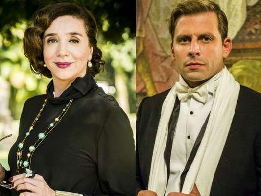 Celeste Hermínia (Marisa Orth) dará um tapa na cara de Teodoro (Henri Castelli), em cena que vai ao ar no dia 23 de dezembro de 2017, na novela 'Tempo de Amar'