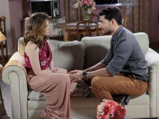 Cecília (Bia Arantes) se preocupa por Gustavo (Carlo Porto) estar diferente e o questiona sobre a decisão de se casar, no capítulo que vai ao ar sexta-feira, dia 19 de janeiro de 2017, na novela 'Carinha de Anjo'