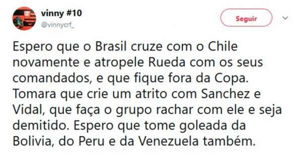 Torcedores do Flamengo usaram as redes sociais para criticar Rueda