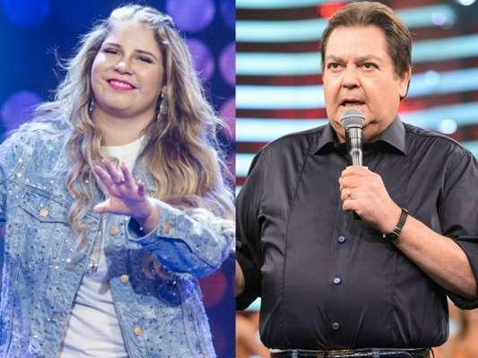 Marília Mendonça brincou ao ser chamada de 'gordinha' por Fausto Silva durante o 'Domingão do Faustão' deste domingo, dia 11 de março de 2018