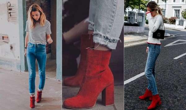 COM JEANSO jeans é uma das peças mais coringas que podemos encontrar no nosso guarda-roupa, sendo assim, é perfeito para combinar com as botas vermelhas e criar um look despojado e moderno ao mesmo tempo. Dá para usar em qualquer ocasião! Foto: Reprodução/Pinterest Foto 1 | Foto 2 | Foto 3