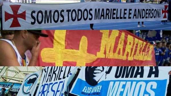 Faixas com mensagens para Marielle Franco e Anderson Pedro Gomes nos estádios