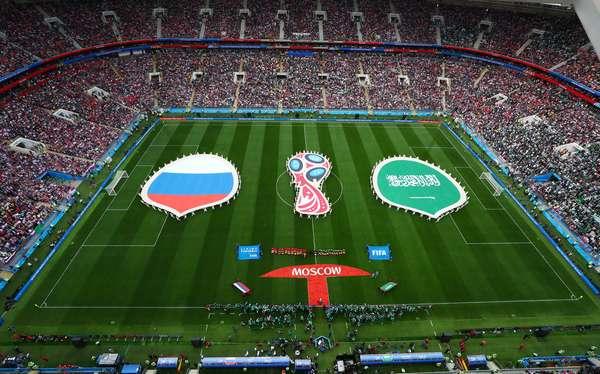 Cerimônia pré-partida entre Rússia e Arábia Saudita pelo Grupo A da Copa do Mundo