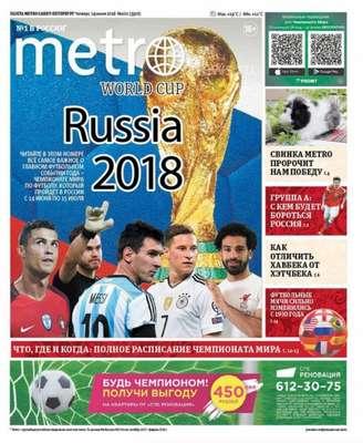 Nos jornais do país da Copa, não poderia haver outro destaque: o início do Mundial dominou as páginas da imprensa local, como o Metro Russia, de Moscou.