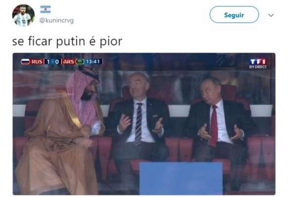 Humor na Copa: Putin, Infantino e príncipe saudita após o gol da Rússia