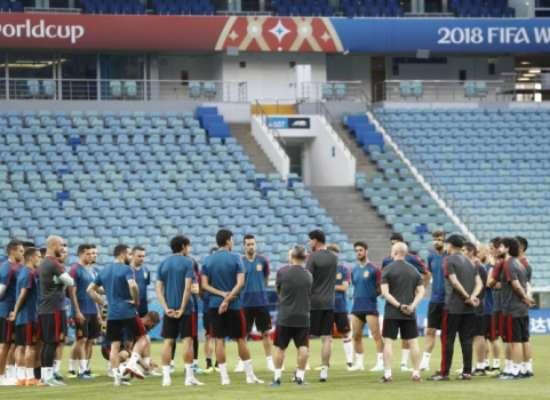 Treino da seleção espanhola em Sochi; veja imagens