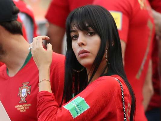 Georgina Rodriguez, namorada de Cristiano Ronaldo, durante partida de Portugal contra Marrocos, pelo Grupo B da Copa