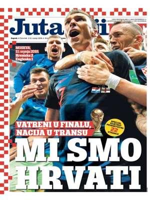 Os croatas estão em êxtase com a classificação para a final da Copa do Mundo. Na capa do jornal Jutarnji, a manchete destaca o gol da vitória na prorrogação: 'Nós somos lutadores'.