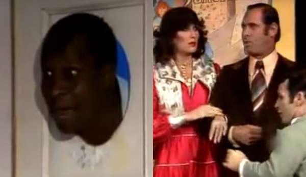 'QUADRO DE UM CRIOLO' - Mesmo com um negro no elenco principal, os 'Trapalhões' originais exibiam diálogos racistas sem grande preocupação. Em uma esquete do programa, Dedé tenta vender uma 'pintura' com a cabeça de Mussum, e o cliente responde: 'Eu compraria se esse quadro não fosse de um criolo!'