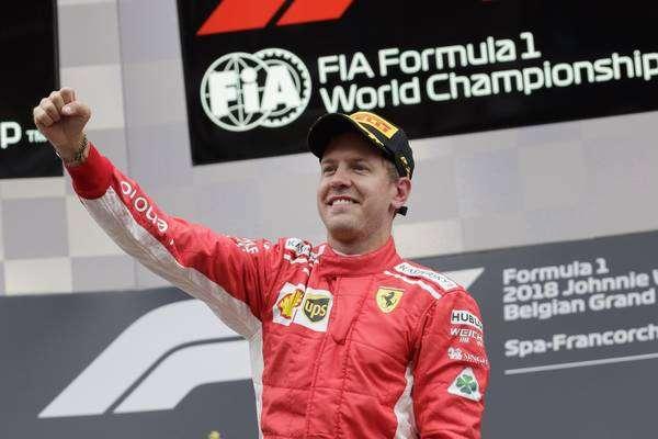 Sebastian Vettel celebra vitória na Bélgica