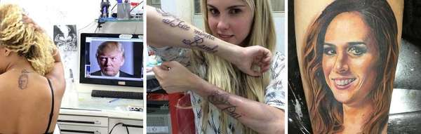 Tatuagens e artistas - Seja fazendo uma tatuagem ou sendo homenageados por uma, diversos artistas costumam ter alguma relação com as gravuras eternizadas na pele; separamos algumas feitas pelas próprias personalidades ou seus fãs que não saíram exatamente como esperado para você conferir a seguir!