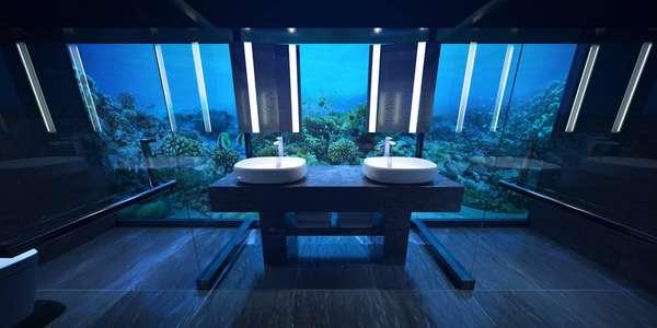 O banheiro submerso.