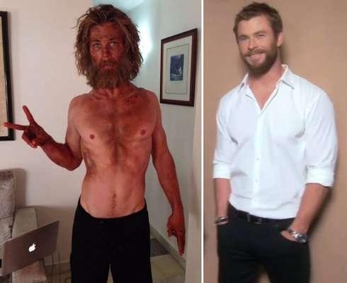 Chris Hemsworth - Após viver o forte protagonista de 'Thor', precisou perder quase 20 quilos para seu personagem em 'No Coração do Mar'