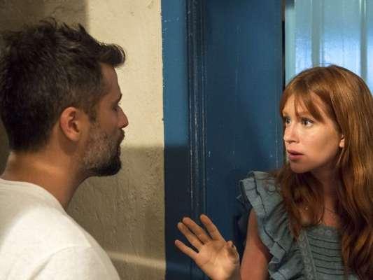 Gabriel (Bruno Gagliasso) fica mal quando se vê obrigado a tratar mal Luz (Marina Ruy Barbosa) no capítulo de quarta-feira, 30 de janeiro de 2019 da novela 'O Sétimo Guardião'